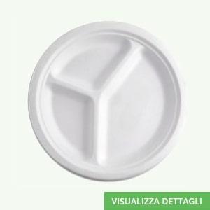 Piatto piano triscomparto biodegradabili in polpa di cellulosa DIGLASS