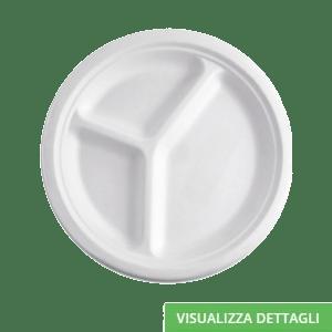Piatti triscomparto biodegradabili e compostabili in polpa di cellulosa DIGLASS